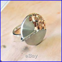 Breuning Two-Tone Sterling Silver and Rose Gold with Cubic Zirconia Ring Size