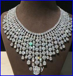 Broad Bridal Look Aaa Quality Full Cubic Zircon Necklace In 92.5 Sterling Silver