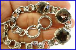 Brown Smoky Quartz White Cubic Zirconia Ornate Sterling Silver Link Bracelet