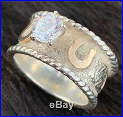 COWBOY JEWELERS Engraved Sterling 14KT Gold Fill Cubic Zirconia Ring Size 7