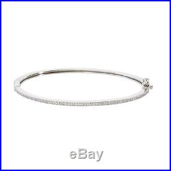 CRISLU Cubic Zirconia Pave Thin Stack Hinged Bangle Finished in Pure PlatinumNEW