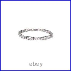 CRISLU Cubic Zirconia Princess Cut Tennis Bracelet SS Platinum 12.0 cttw NEW