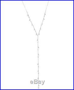 CRISLU Cubic Zirconia Pure Platinum Adjustable Dangling Bezel Lariat Necklace