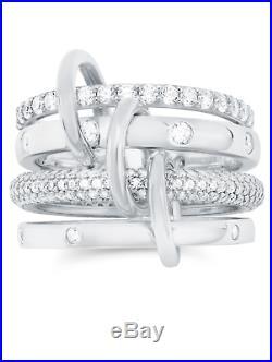 CRISLU Cubic Zirconia Q Ring Finished in Pure Platinum- Size 8 Brand New -SALE