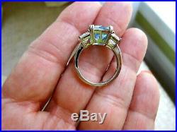 CRISLU Ring Flawless Blue Cubic Zirconia Platinum. 925 Sterling Silver Sz 7 NIB