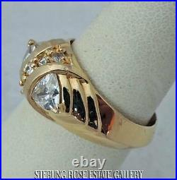 CUBIC ZIRCONIA 0.925 Sterling Silver VERMEIL Estate band ring size 7