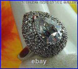 CUBIC ZIRCONIA 3/4 Sterling Silver. 925 Estate Eye Popping COCKTAIL RING size 9