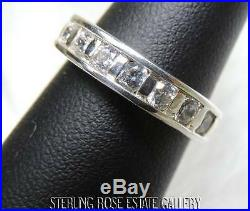 CUBIC ZIRCONIA Sterling Silver 0.925 Estate 7 stone WEDDING BAND RING size 7
