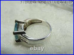 CUBIC ZIRCONIA and 8 x 10 mm TOPAZ STERLING SILVER 925 ESTATE cocktail RING sz 7