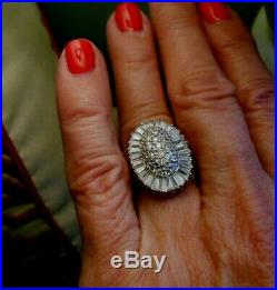 CZ Baguette Ballerina Cluster Ring Sterling Cubic Zirconia Size 8