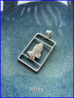 Can Be Customized 925 Sterling Silver Praying Hands Pendant Cubic Zirconia