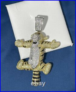 Cartoon Tiga 925 Sterling Silver Pendant Cubic Zirconia Stones Iced Out White