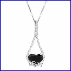 Certified Natural Black Jade Heart Pendant with Cubic Zirconia, Sterling Silver