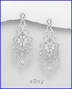 Chandelier earrings sterling silver rhodium plated with sparkling Cubic Zirconia