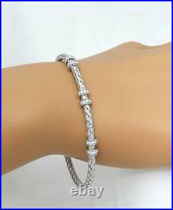 Charles Garnier 925 Sterling Silver Cubic Zirconia Positano Cuff Bracelet 7
