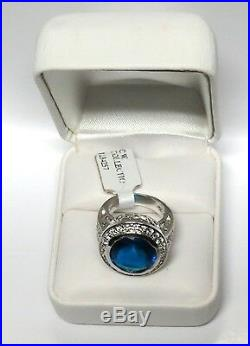 Charles Winston Blue Sapphire Cubic Zirconia 925 Sterling Silver Ring 10.94G