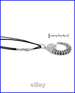 Charming Tiger Necklace WithCubic Zirconia in 925 Sterling Silver & Black Cotton