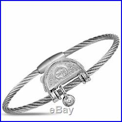 Charriol My Heart Sterling Silver and Cubic Zirconia Bangle Bracelet