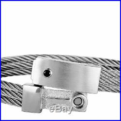 Charriol The Key Sterling Silver and Black Cubic Zirconia Bangle Bracelet