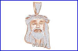 Christmas Special Cubic Zirconia Jesus Face Hip Hop Pendant 14K Rose Gold Over