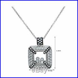 Citerna Women's Sterling Silver Cubic Zirconia Floating Stones Square Pendant
