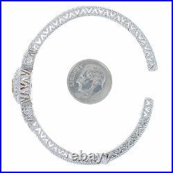 Citrine & Cubic Zirconia Judith Ripka Cuff Bracelet 6- Sterling Silver Halo CZs