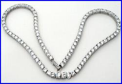 Clear Cubic Zirconia Tennis Necklace Sterling Silver 23 Carats 16 Long 925