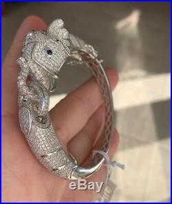 Cote dArgent Sterling Silver 925 Elephant pave Cubic Zirconia Bracelet cuff NWT