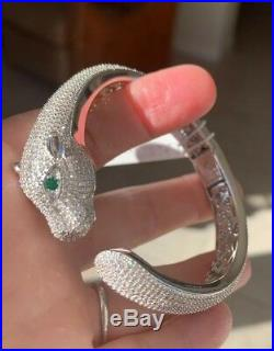 Cote dArgent Sterling Silver 925 Panther pave Cubic Zirconia Bracelet cuff NWT