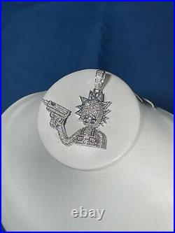 Crazy Guy With Gun 925 Sterling Silver Pendant Cubic Zirconia Stones Iced Out