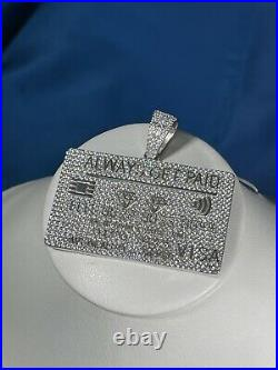 Credit Card 925 Sterling Silver Pendant Cubic Zirconia Stones Iced Out White