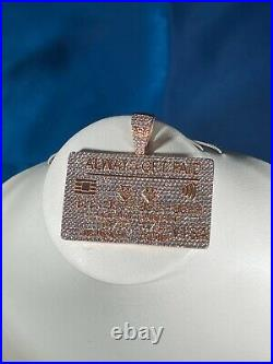 Credit Card Style 925 Sterling Silver Pendant Cubic Zirconia Stones Iced Out