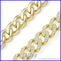 Cuban Curb Link CZ Crystal 10.2mm Chain Necklace 925 Sterling Silver & 14k Y GP