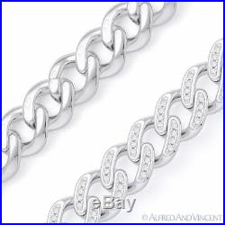 Cuban Curb Link CZ Crystal 10.2mm Chain Necklace. 925 Sterling Silver with Rhodium