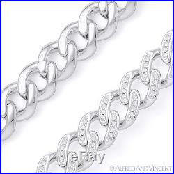 Cuban Curb Link CZ Crystal 8.5mm Chain Necklace. 925 Sterling Silver with Rhodium