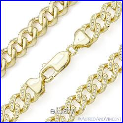 Cuban Curb Link CZ Crystal Chain Necklace. 925 Sterling Silver & 14k Yellow Gold