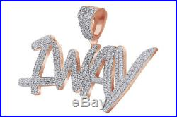 Cubic Zirconia 1 WAY Hip Hop Pendant 14K Rose Gold Over 925 Sterling Silver