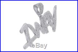 Cubic Zirconia 1 WAY Hip Hop Pendant 14K White Gold Over 925 Sterling Silver