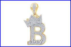 Cubic Zirconia B Crown Pendant 14K Yellow Gold Over 925 Sterling Silver