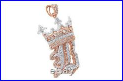Cubic Zirconia B Crown Small Hip Hop Pendant 14K Rose Gold Over Sterling Silver