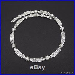 Cubic Zirconia Byzantine Style 925 Sterling Silver Greek Handmade Art Necklace