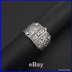Cubic Zirconia Byzantine Style 925 Sterling Silver Greek Handmade Chain Bracelet