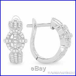 Cubic Zirconia CZ Crystal Micro-Pave 925 Sterling Silver Leverback Drop Earrings