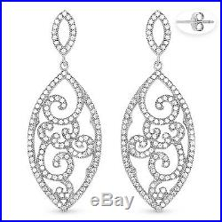 Cubic Zirconia CZ Crystal Pave Sterling Silver Dangling Vintage-Style Earrings