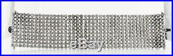 Cubic Zirconia CZ Cuff Bracelet Sterling Silver Wide