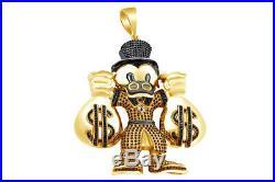 Cubic Zirconia Cartoon Characters Scrooge McDuck Hip Hop Pendant Sterling 925