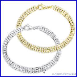 Cubic Zirconia Crystal. 925 Sterling Silver 3-Row Tennis Bracelet Non-Tarnish