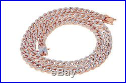Cubic Zirconia Cuban Chain Necklace 14K Rose Gold Over 925 Sterling Silver