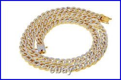 Cubic Zirconia Cuban Chain Necklace 14K Yellow Gold Over 925 Sterling Silver
