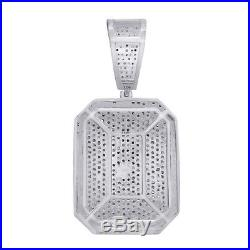Cubic Zirconia Dog Tag Hip Hop Pendant 14K White Gold Over 925 Sterling Silver